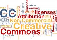 Immagine con molte parole tra cui Creative Commons-Copyright-licenses-work diversamente colorate e che si intersecano a formare un disegno geometrico