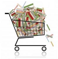 Disegno di un carrello della spesa pieno di libri