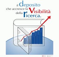 """Logo dello SBA per i lavori di ricerca con lo slogan """"Il deposito che accresce la visibilità della ricerca"""""""