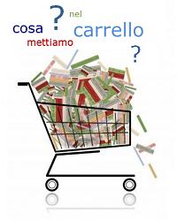 """Disegno di un carrello della spesa pieno di libri con la scitta """"Cosa mettiamo nel carrello?"""""""