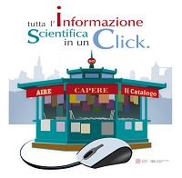 """Logo dello SBA per l'informazione scientifica con lo slogan """"AIRE-CaPerE-Il Catalogo: tutta l'informazione scientifica in un click"""""""